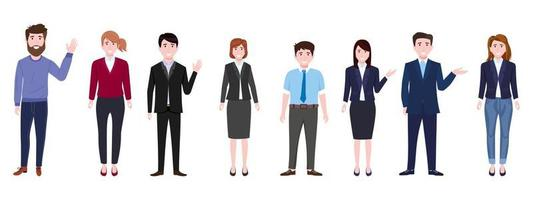 Young happy businessmen and businesswomen characters team wearing business outfit standing and waving vector