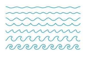 Water wave vector. Waves swaying in lakes and oceans Isolated on white background vector