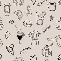Seamless coffee doodle pattern on beige background vector