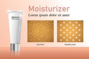 humectante y piel seca y piel sana vector