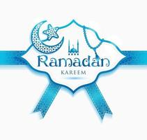 Ramadan Kareem decoration frame. Vector Islamic abstract background in blue color.