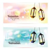 Ramadan Kareem lantern banner. Islamic background. vector