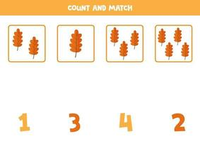 Counting game for kids Math game with autumn leaves vector