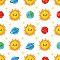 patrón sin fisuras con lindo sol y planetas del sistema solar vector