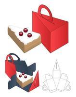 caja de pastel embalaje diseño de plantilla troquelada maqueta 3d vector
