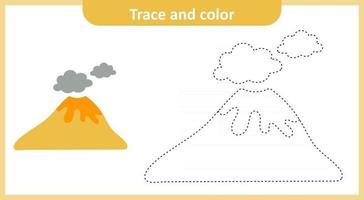 Volcán traza y color vector