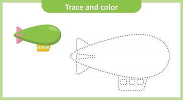 trazar y colorear zepelín vector