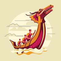 Ilustración de vector de festival de barco de dragón chino