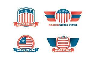 made in usa colección de logotipos con estrella y bandera vector