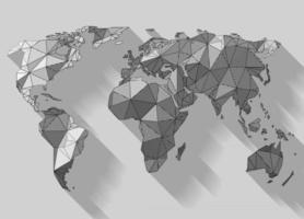 Vector low poly style earth map, woodcut shading made by parallel lines
