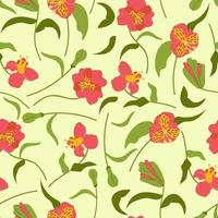 Hand drawn seamless pattern of flowers alstroemeria vector