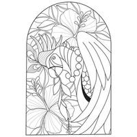 Bird and hibiscus flower Hand drawn sketch for adult colouring book vector