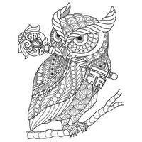búho con llave, boceto dibujado a mano para libro de colorear para adultos vector