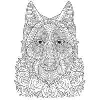 Fox in the rose garden, Hand drawn sketch for adult colouring book vector