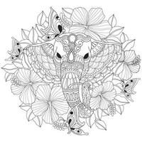 Elephant flower, Hand drawn sketch for adult colouring book vector
