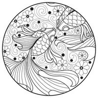 Two fish with flower, Hand drawn sketch for adult colouring book vector
