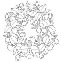 Orchid flower wreath, Hand drawn sketch for adult colouring book vector
