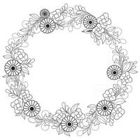 Rose Abstract wreath, Hand drawn sketch for adult colouring book vector