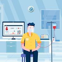El hombre hace la donación de sangre en el concepto de laboratorio del hospital vector