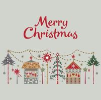 Merry Christmas card with tree and shops Vector illustration