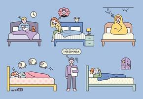 People suffering from insomnia due to various problems vector