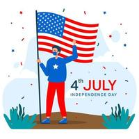 Fourth of July Independence Day, Man Holding an American Flag vector