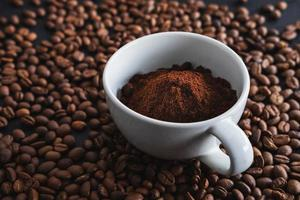 Coffee powder in a coffee cup photo