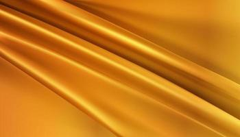 metalic gold silky fabric abstract background 3d illustration realistic swirled textile vector