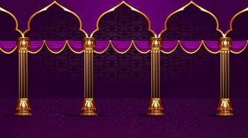 islamic holiday arch and pole background vector