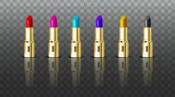 Collection of color lipsticks vector
