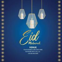 Eid mubarak islamic festival invitation greeting card with crystal candle lantern vector