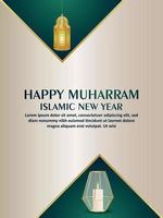 Islamic new year happy muharram celebration greeting card with creative arabic vector lantern