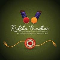 Happy raksha bandhan celebration greeting card with crystal vector rakhi