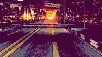 illustrato guida notturna su strada in città video