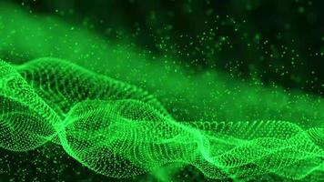 Abstract Modern Video of Green Flowing Cyber Particles