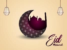 Arabic pattern moon of eid mubarak celebration greeting card vector
