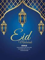Eid mubarak celebration party poster with creative golden lantern vector