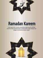 Ramadan kareem vector illustration with arabic pattern elements and golden lantern