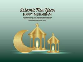 Islamic new year invitation greeting card with golden lantern and pattern moon vector