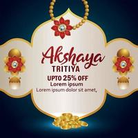 Indian festival of akshaya tritiya sale offer with gold earings and gold coin vector