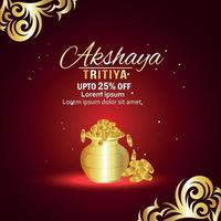 Akshaya tritiya sale promotion with gold coin pot vector