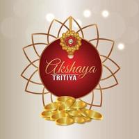 Akshaya tritiya indian festival with gold coin vector