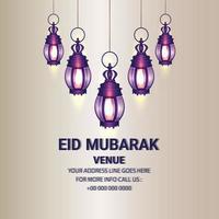 Islamic festival of eid mubarak celebration card with creative arabic lantern vector