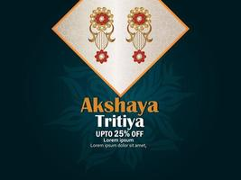 Indian festival akshaya tritiya sale promotion offer with gold diamond earings vector