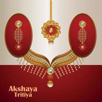 Akshaya tritiya celebration greeting card with gold and diamond jewellery vector