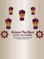 Happy muharram islamic new year celebration party flyer with flat lantern vector