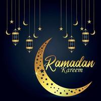 Ramadan kareem festival background with golden moon and lantern vector