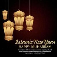 Creative illustration of arabic festival Islamic new year with golden lantern and gold moon vector