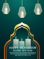 Happy muharram celebration party flyer with arabic lantern vector