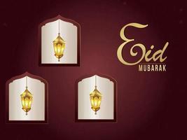 Eid mubarak islamic festival invitation greeting card with golden lantern vector